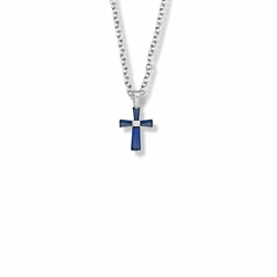 5/8 Inch Sterling Silver and Glass Crystal First Communion September Birthstone Baguette Cross Necklace