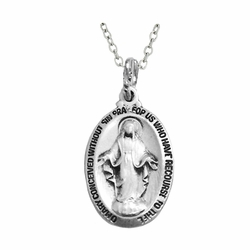 5/8 Inch Sterling Silver Antiqued Oval Miraculous Medal