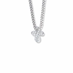 5/8 Inch Sterling Silver Bow Cross Necklace with Crystal Cubic Zirconia Stones