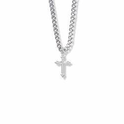 5/8 Inch Sterling Silver Budded Ends Cross Necklace