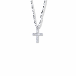 5/8 Inch Sterling Silver Centered Heart Cross Necklace