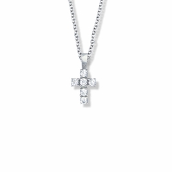5/8 Inch Sterling Silver Cross Necklace with Crystal Cubic Zirconia Stones