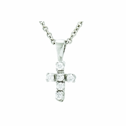 5/8 Inch Sterling Silver CZ Crystal Stone Baby Cross Necklace