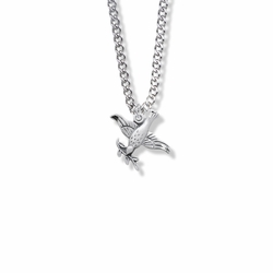 5/8 Inch Sterling Silver Dove and Olive Branch Necklace