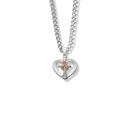 5/8 Inch Sterling Silver Enameled Pink Rose Cross Heart Necklace