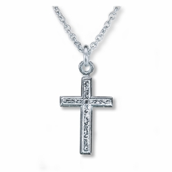 5/8 Inch Sterling Silver Engraved Cross Necklace