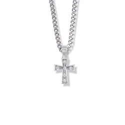 5/8 Inch Sterling Silver Flared Ends Cross Necklace with Crystal Cubic Zirconia Stones