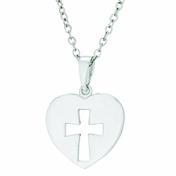 5/8 Inch Sterling Silver Heart with Pierced Cross Necklace