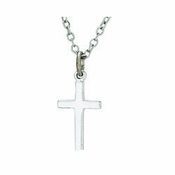 5/8 Inch Sterling Silver Plain Cross Necklace