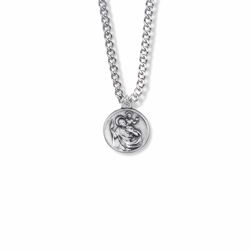 5/8 Inch Sterling Silver Round Antique St. Christopher Medal