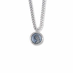 5/8 Inch Sterling Silver Round Blue Enameled St. Christopher Medal