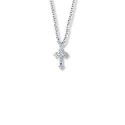 5/8 Inch Sterling Silver Small Budded Ends Crucifix