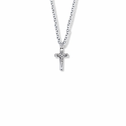 5/8 Inch Sterling Silver Small Crucifix Necklace