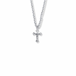 5/8 Inch Sterling Silver Small Pierced Crucifix Necklace