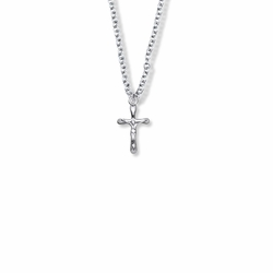 5/8 Inch Sterling Silver Small Rounded Ends Crucifix Necklace
