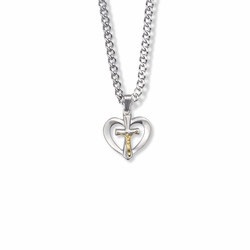 5/8 Inch Two-Tone Sterling Silver Heart with Crucifix Necklace