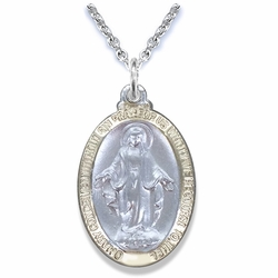 5/8 Inch Two Tone Sterling Silver Oval Miraculous Medal