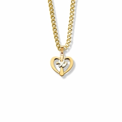 5/8 Two-Tone 14K Gold Over Sterling Silver Dove and Cross Heart Necklace