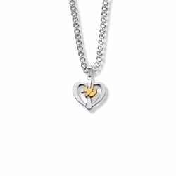 5/8 Two-Tone Sterling Silver Dove and Cross Heart Necklace