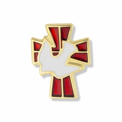 5/8 x 1/2 Inch Gold and Enameled Descending Dove on Cross Lapel Pin