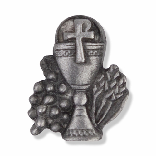 5/8 x  1/2 Inch Pewter Communion Chalice Lapel Pin