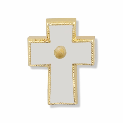 5/8 x 1/4 Gold Enameled Cross Lapel Pin with Mustard Seed