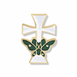 5/8 x 3/8 Inch Gold Enameled Butterfly and Cross Lapel Pin
