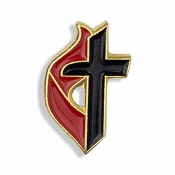 5/8 x 3/8 Inch Gold Enameled Methodist Cross Lapel Pin