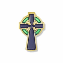 5/8 x 5/16 Inch Gold Enameled Celtic Cross Lapel Pin