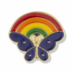 5/8 x 5/8 Inch Gold Enameled Butterfly and Rainbow Lapel Pin