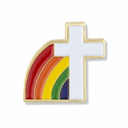 5/8 x 5/8 Inch Gold Enameled Cross and Rainbow Lapel Pin