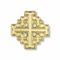 5/8 x 5/8 Inch Gold Jerusalem Cross Lapel Pin