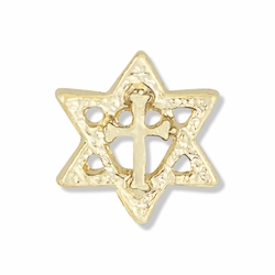 5/8 x 5/8 Inch Gold Star of David and Cross Lapel Pin