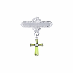 5/8 x 5/8 Inch Sterling Silver August Peridot Birthstone Cross Bar Pin