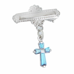 5/8 x 5/8 Inch Sterling Silver December Zircon Birthstone Cross Bar Pin