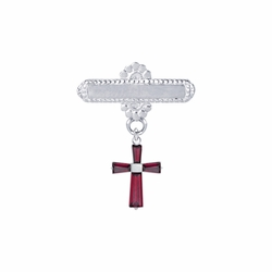 5/8 x 5/8 Inch Sterling Silver Garnet January Birthstone Cross Bar Pin