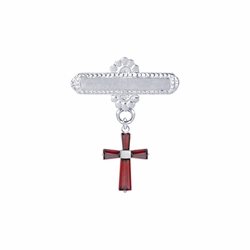 5/8 x 5/8 Inch Sterling Silver July Ruby Birthstone Cross Bar Pin