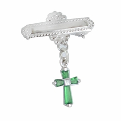 5/8 x 5/8 Inch Sterling Silver May Emerald Crystal Birthstone Cross Bar Pin