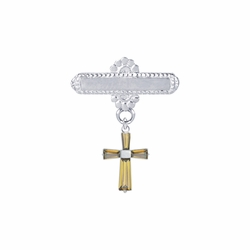 5/8 x 5/8 Inch Sterling Silver November Topaz Birthstone Cross Bar Pin