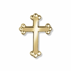 5/8  x 7/16 Inch Gold Budded Ends Cross Lapel Pin
