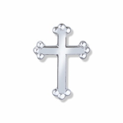 5/8  x 7/16 Inch Silver Budded Ends Cross Lapel Pin
