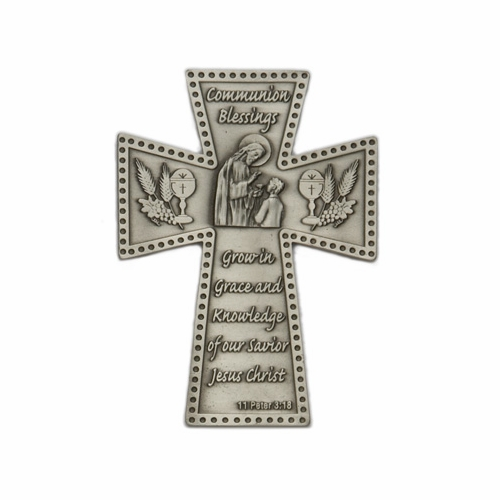 "5"" Fine Pewter Hand Finished  Communion ""Grace"" Wall Cross"
