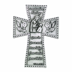 5 Inch Antique Pewter First Communion Boy Wall Cross