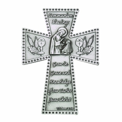 5 Inch Antique Pewter First Communion Girl Wall Cross