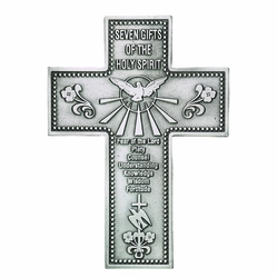 5 Inch Antiqued Pewter 7 Gifts of the Holy Spirit Wall Cross