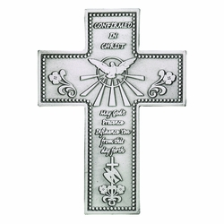 5 Inch Antiqued Pewter Confirmation Wall Cross