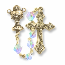 5mm Crystal Glass Beads Rosary with Crucifix and Chalice Center