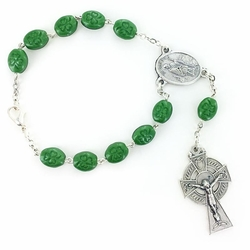 5mm Oval Green Beads Auto Rosary with Celtic Crucifix and St. Patrick Center