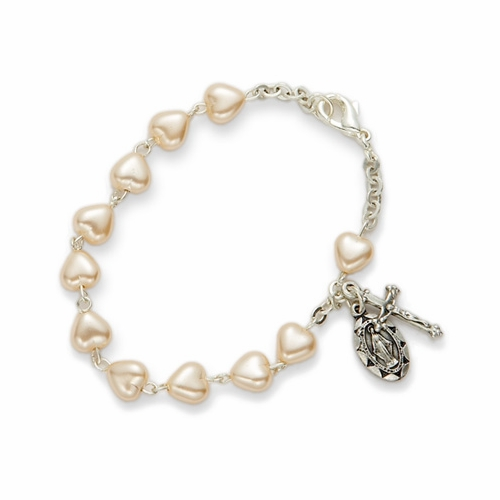 5-1/2 Inch Heart Shaped Pearl Beads Bracelet with Miraculous and Crucifix Charms