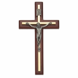 6-3/4 Inch Cherry Wood and Brass Wall Crucifix with Pewter Corpus